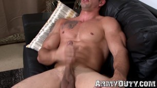 Good looking military stud strokes his giant cock solo