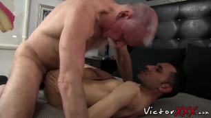 Lusty twink craves for bare mature cock in his little hole