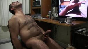 Latin bear with huge dick beats off